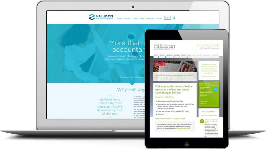 Websites for accountants on various devices